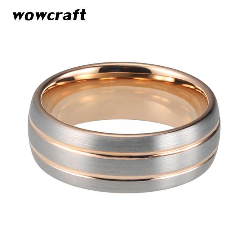 8mm różowe złoto pierścień karbidowy wolframu dla kobiet mężczyzn podwójne rowkowane matowe szczotkowane wykończenie obrączki zaręczynowe