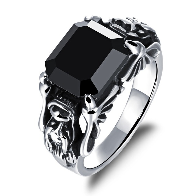Cool Men S Black Crystal Stone Ring High Quality Stainless