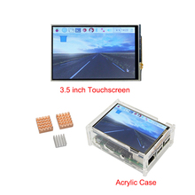 Big discount Raspberry Pi 3 Model B 3.5 inch Touch Screen LCD Display + Acrylic Case + Copper Aluminum Heat Sinks for Raspberry Pi