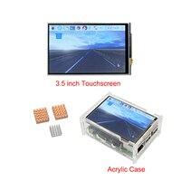 Raspberry Pi 3 Modelo B 3.5 pulgadas de Pantalla Táctil Pantalla LCD + Caja de acrílico + Aluminio Disipadores de Calor de Cobre para Raspberry Pi