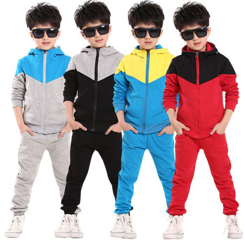 где купить 6 8 10 12 14 Years Boys Jogging Tracksuit Set Hooded Patchwork Coat + Pants Cotton School Uniform Sport Suit Boy Clothing Sets по лучшей цене