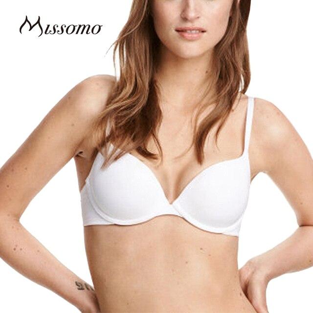 Missomo 2017 Новые Моды для Женщин Белый Sexy Push Up Регулируемые Ремни Провода Поддержки Bralette Сплошной Цвет Нижнее Белье Мягкие Бюстгальтеры