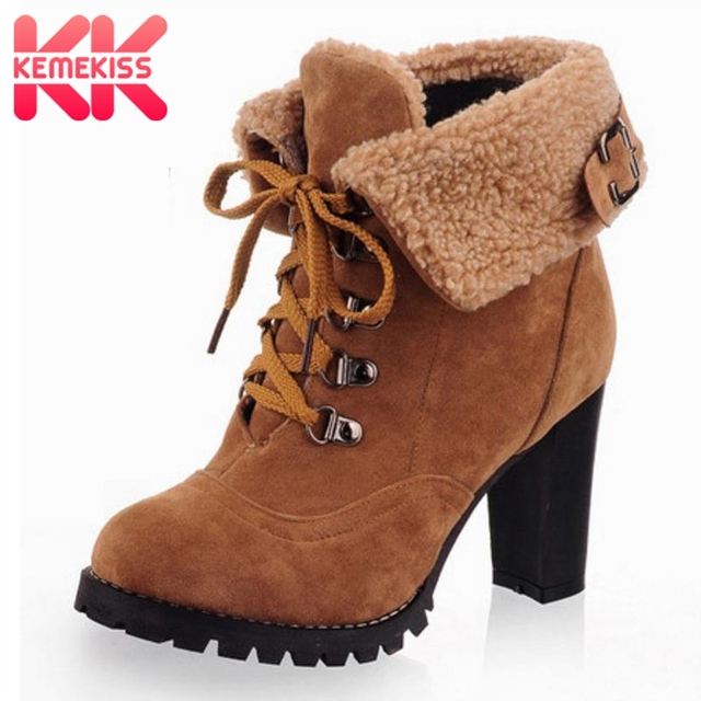 3379ef6f0b96 KemeKiss Free shipping ankle boots women fashion short snow winter footwear wedge  shoes sexy warm half boot P7589 EUR size 34-43