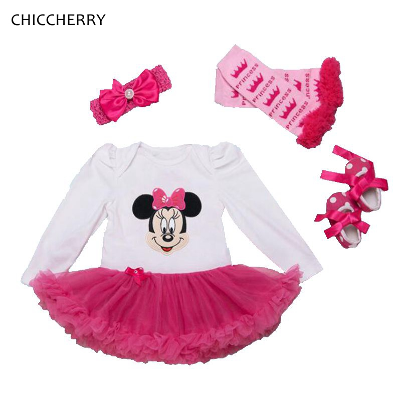 Pink Baby First Birthday Outfits Minnie Infant Lace Tutu Set Toddler Girl Romper Dress Headband & Legwarmers Shoes Kids Clothes crown princess 1 year girl birthday dress headband infant lace tutu set toddler party outfits vestido cotton baby girl clothes