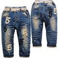 3806 pantalones vaqueros del bebé del muchacho de primavera otoño casual manera del muchacho del bebé pantalones de los niños pantalones de mezclilla azul marino