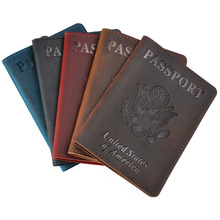 Crazy Horse Cow Leather USA Passport Cover Travel Men Genuine  The America H Pouch