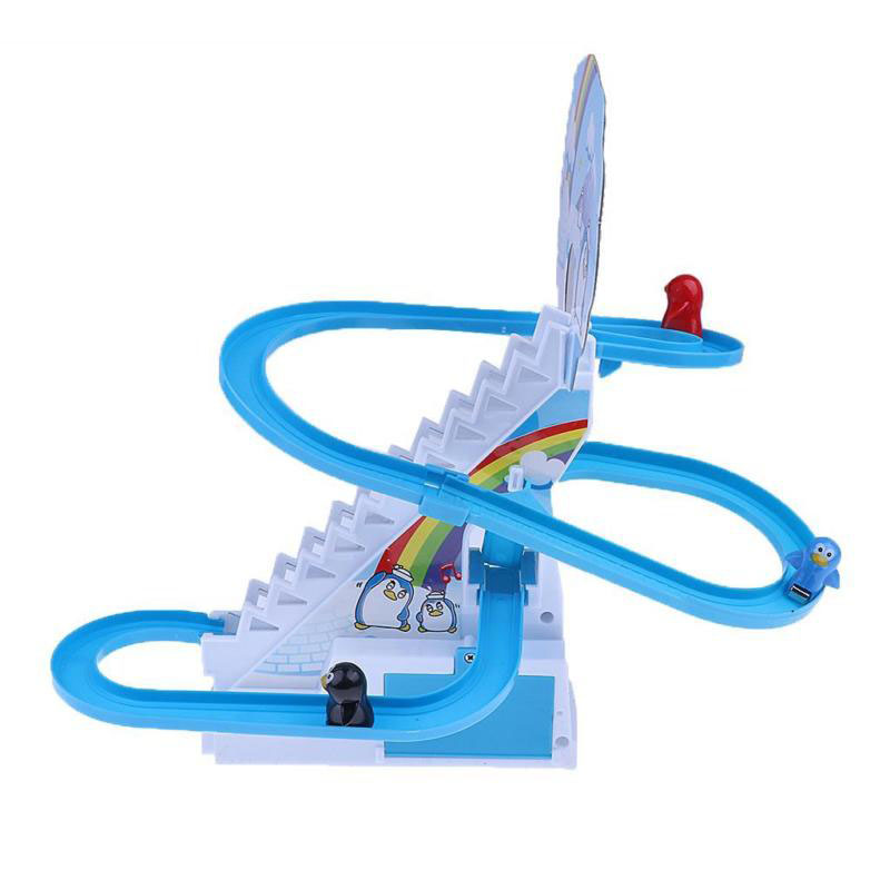 US $8 4 13% OFF|Hot Sale Penguin Climb Stairs Track Puzzle Electric Race  Track Toy Children's Classic Cartoon Music Light Birthday Gift toys-in