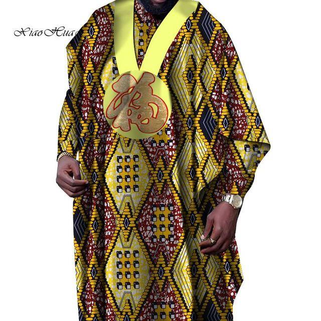 Bornoz Africain Erkek Nedensel Uzun Elbiseler Geleneksel Afrika Baskı Balmumu Gevşek Uzun Kollu Baskı Elbiseler Batik Artı Boyutu 6XL WYN516