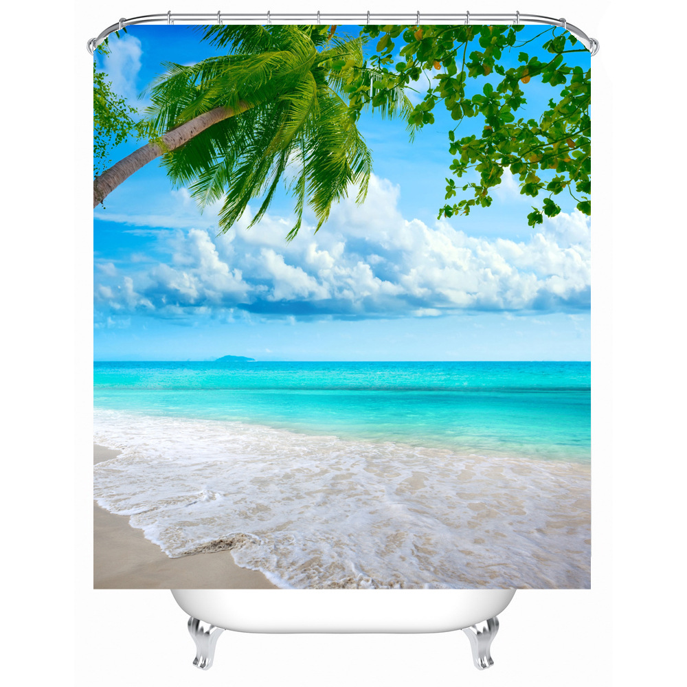 Wonderful Shower Curtain Summer Beach Pattern Waterproof Polyester Bath Curtain  Bathroom Accessories 180x180cm Curtains Home Decoration In Shower Curtains  From Home ... Design Inspirations