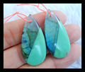 Natural Stone Water Drop Labradorite Chrysoprase Intarsia Earrings Beads,31*15*5mm,6.4g semiprecious stone earrings fine jewelry