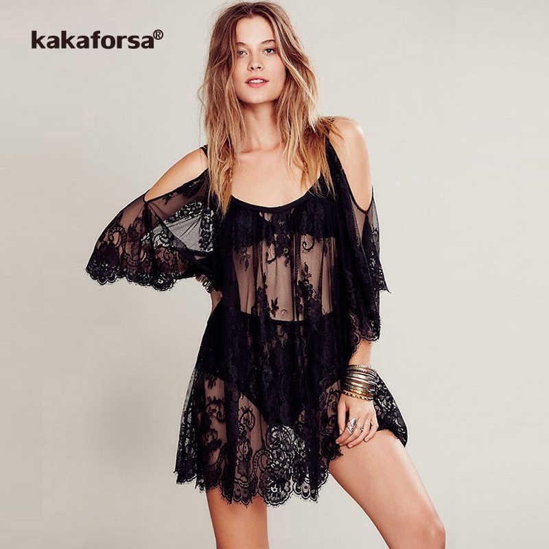 dc6efe7ea5 Kakaforsa 2019 Sexy encaje Crochet playa bordado Floral de Bikini Cover Up  vestidos de playa verano