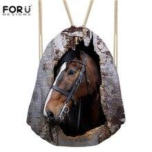 Forudesigns hombres cordón Bolsas mochila animal Crazy Horse impresión para Niñas deporte softbak bolso deportivo bolsa