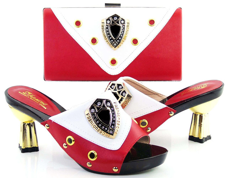 ФОТО VS-03 red+WHITE Women's Shoes And Bag Set  Free Shipping Italian Shoes With Matching Bags For Party Summer Sandal Size 37-43
