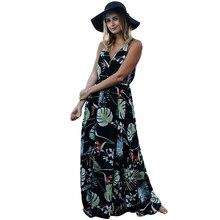 32463617acd Adogirl Sexy Women Boho Long Floral Print Sleeveless Maxi Summer V Neck  Beach Dress