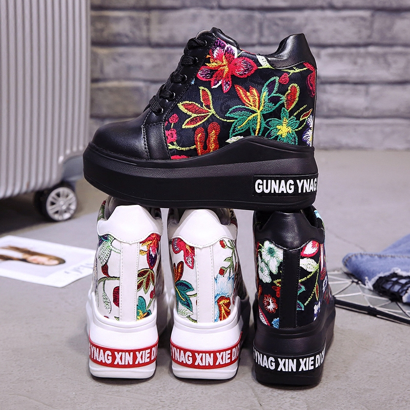 0fde1cf31f 2018 Summer Women High Platform Shoes Height Increasing Ladies Sneakers  Spring Trainers Pu Leather Shoes Breathable Casual Shoes. women size