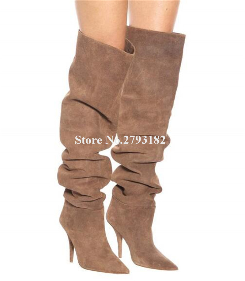 Women Sexy Pointed Toe Suede Leather Pleated Loose Over Knee Thin Heel Boots Slip-on Stiletto High Heel Long Boots Dress ShoesWomen Sexy Pointed Toe Suede Leather Pleated Loose Over Knee Thin Heel Boots Slip-on Stiletto High Heel Long Boots Dress Shoes