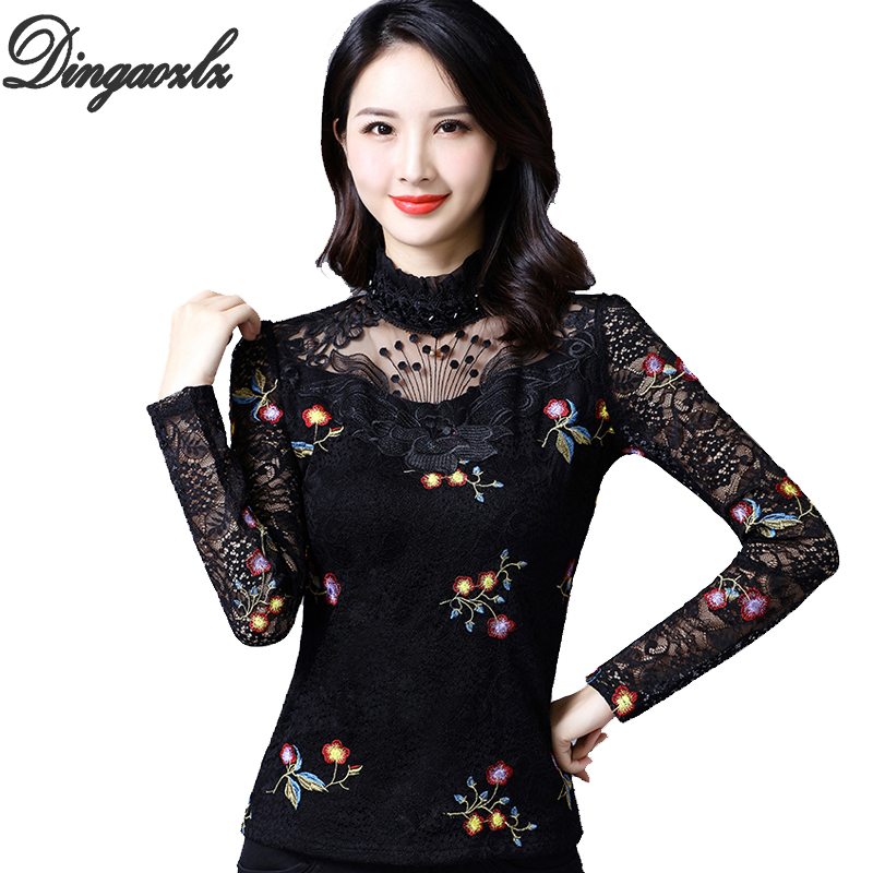 Blouses & Shirts Dingaozlz S-4xl Plus Size Clothing Fashion Women Lace Blouse Embroidery Crochet Long Sleeve Hollow Out Lace Tops Blusas Mujer Refreshing And Beneficial To The Eyes