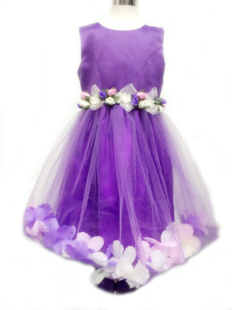 C14 Purple Flower girl dresses Children dresses Kids wedding party ...