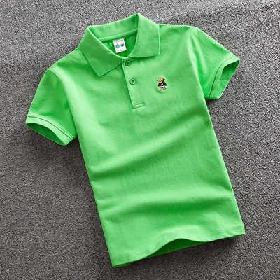2020 ฤดูร้อนใหม่แขนสั้นเสื้อโปโล 2-11y เด็ก Lapel สีทึบเสื้อผ้าเด็กฝ้ายโรงเรียนเสื้อโปโล OUT