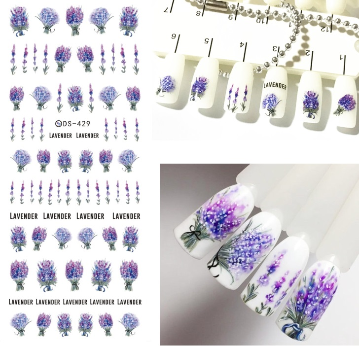 1 Sheet Nail Stickers Spring Fresh Flower Series Water Decal Colorful Nail Art Transfer Sticker Nail Art Decoration Aaa