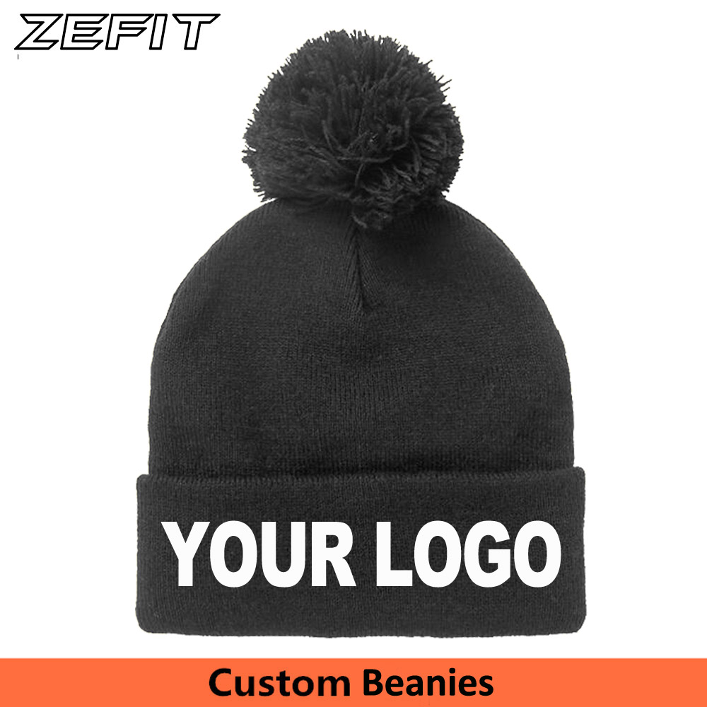 3d2c0a14a0c Customized Winter Hats with Pom Pom Ball Custom Embroidery Tag LOGO Texts  Solid Skullies Adult Men
