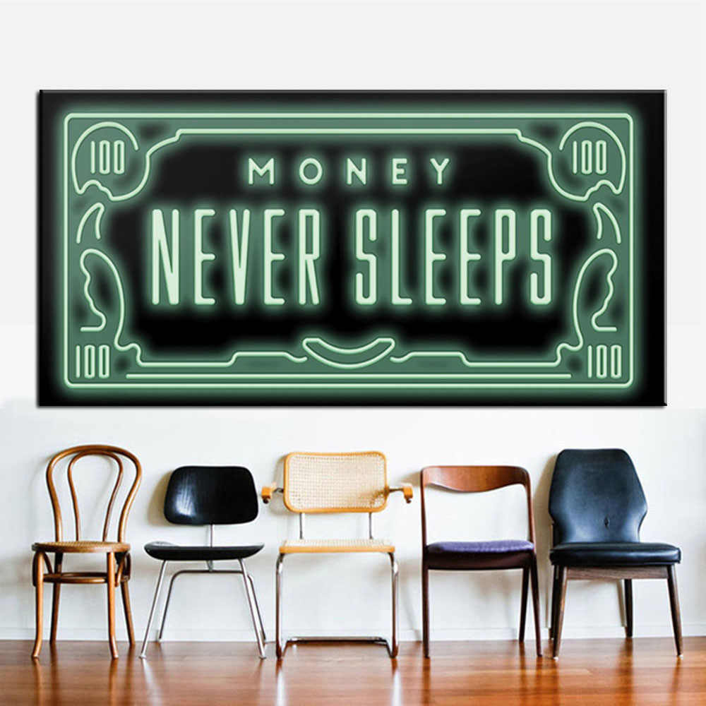 Money Never Sleep HD Canvas Print Nordic Quotes Letter Money Art home decor wall art painting print on canvas office art culture