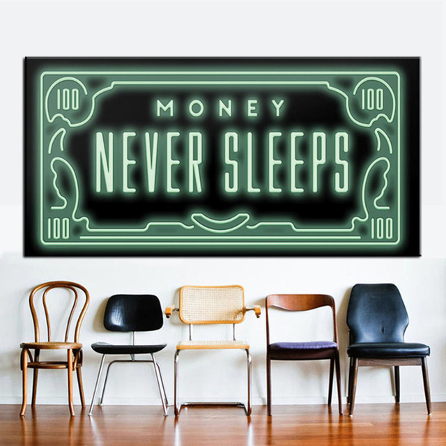 Money Never Sleep Hd Canvas Print Nordic Quotes Letter Art Home Decor Wall Painting On Office Culture