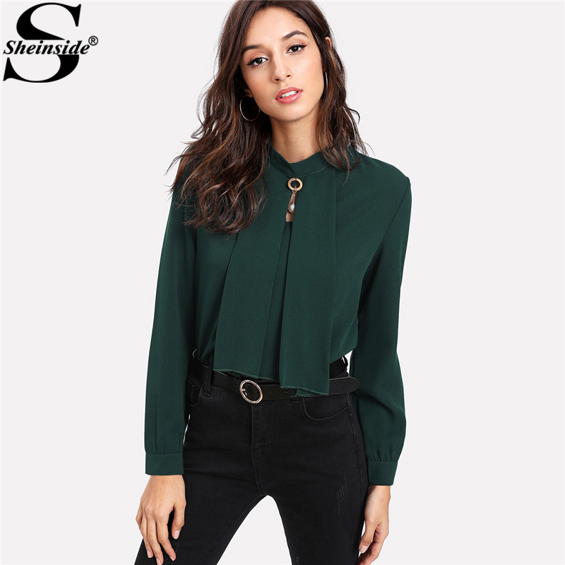 Sheinside Long Sleeve Blouse Green Stand Collar Pearl Detail Plain Button Keyhole Back Top Women Elegant Work Blouse Блузка