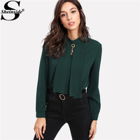 Sheinside 2017 Long Sleeve Blouse Green Stand Collar Pearl Detail Plain Button Keyhole Back Top Women