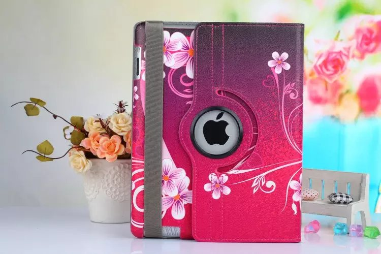 360 Degree New Painted Flower Pu Leather Rotating Case For Ipad Mini Smart Cover Table Case For Ipad Mini 2 Mini3 Retina 7.9Inch