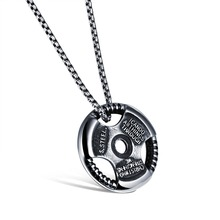 Train Hard or Go Home Weight Plate Barbell Dumbbell Pendant Necklaces Fashion Stainless Steel Men Jewelry Powerful Accessories