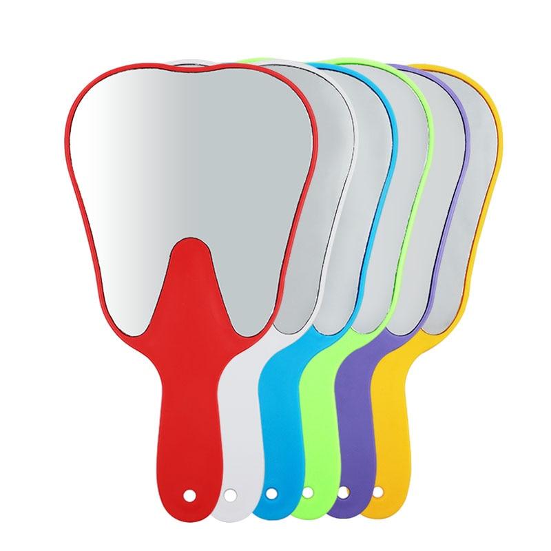 1pc Dental Teeth Shape Model Mirror Tooth Shape Glass Mirror High Quality Dental Gift Oral Teeth Care Hand Use Tools
