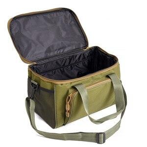 Image 2 - كبير مقاوم للماء حقيبة صيد سمك صندوق الطعم حزام الكتف جيب معدات صيد الأسماك حقيبة قماش قنب ثلاثة لون اختياري
