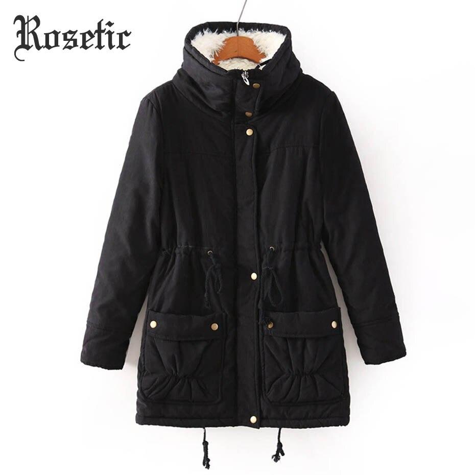 Rosetic Готический Зимняя парка Для женщин толстый твердый карман на молнии воротник регулируемый пояс хлопковое пальто теплая шерсть женские...