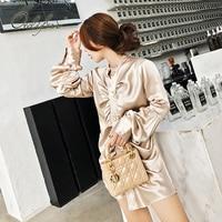 Ordifree 2018 Summer Autumn Women Satin Dress Silk Mini Dress Long Sleeve Casual Short Shirt Dress