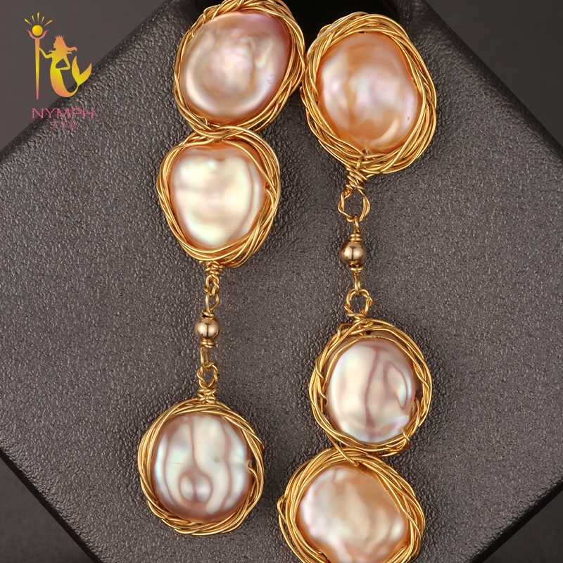 [NYMPH] Fine Jewelry Freshwater Pearl Earrings Long Pearl Earrings For Women Big Baroque 2018 Fashion Engagement Gift E336 fashion silver needle natural freshwater pearl stars in baroque long earrings eardrop fashion temperament
