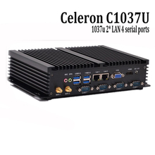 Fanless mini pc 1037u 4 serial ports X86 industrial computer Barebone dual lan mini pc for bank support windows XP 7 8.1/linux