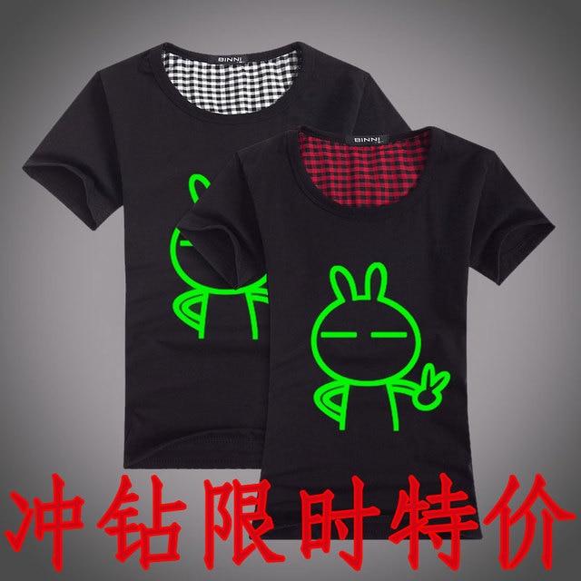 Luminous short-sleeve summer male luminous short-sleeve T-shirt short-sleeve o-neck luminous lovers