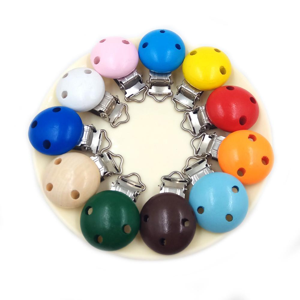 1pc Round Shaped Baby Pacifier Clip Holder Soother Pacifier Solid Color Infant Dummy Clips For Baby Clasp Holders DIY Bead Tooll