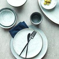 7 Inch Ceramic Dishes Plates Retro Pigmented Round Creative Rice Dinner Plate Porcelain Tableware Breakfast Dessert