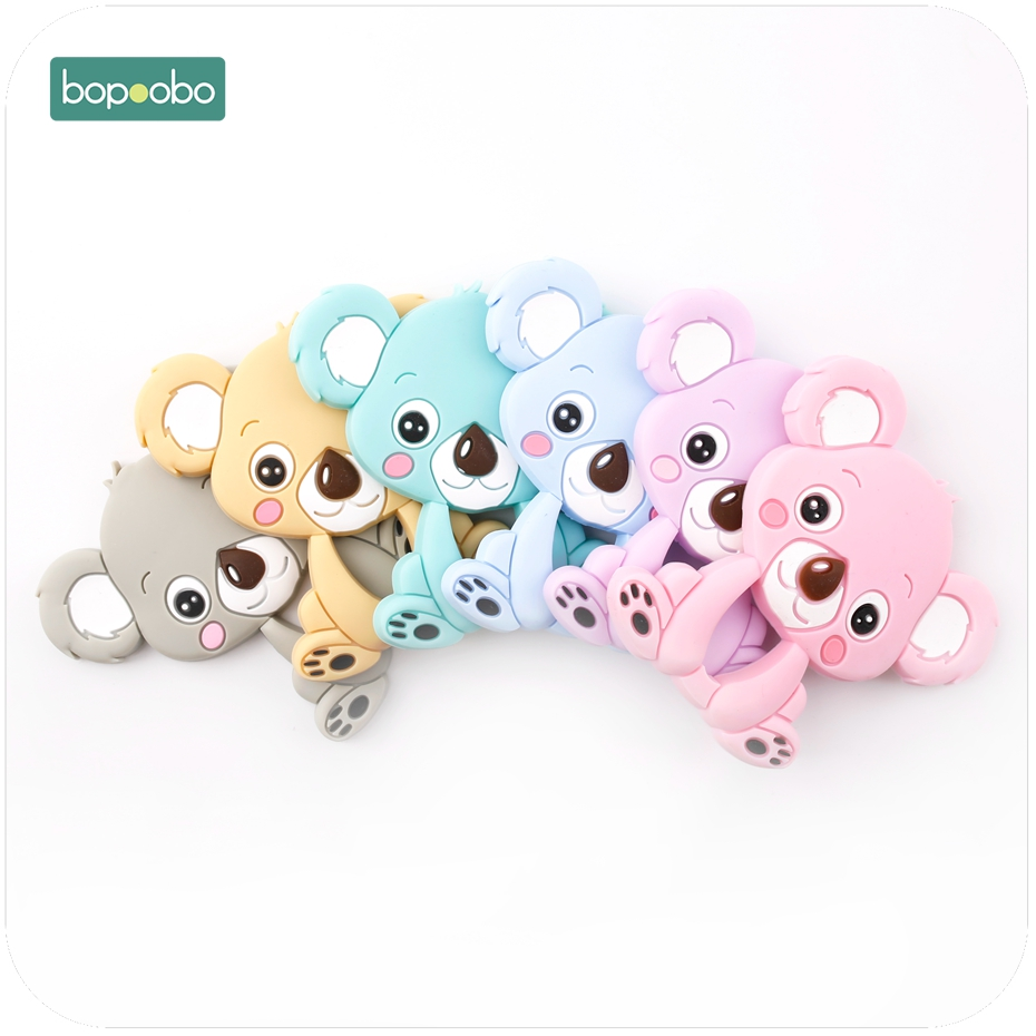 Bopoobp Baby Silicone Teething Accessories 1pc Koala BPA Free Teether Can Chew Pram Toy Handmade DIY Nursing Necklace Pendant