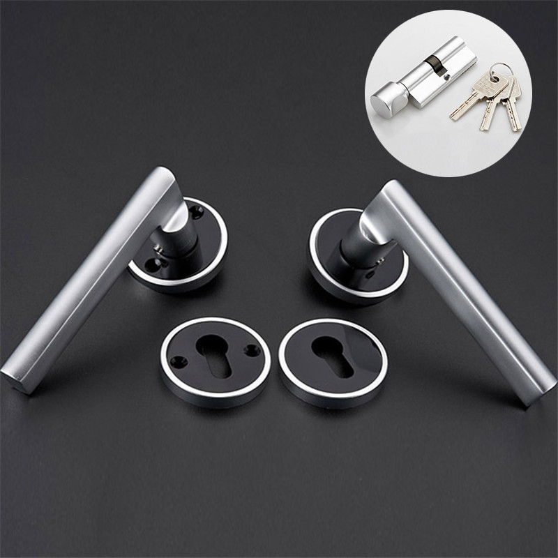 1PC Modernized Black & White Space Aluminum Door Handle Lock Mute Bearing Bedroom With Keys Accessories Set For 35-45mm Doors the black keys the black keys el camino 2 lp