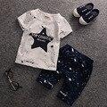 Moda Conjunto de Roupas de Bebê Verão Crianças Conjunto de Roupas Ternos Roupas Menino Meninas das Crianças T-shirt de Manga Curta Calças de Algodão Set