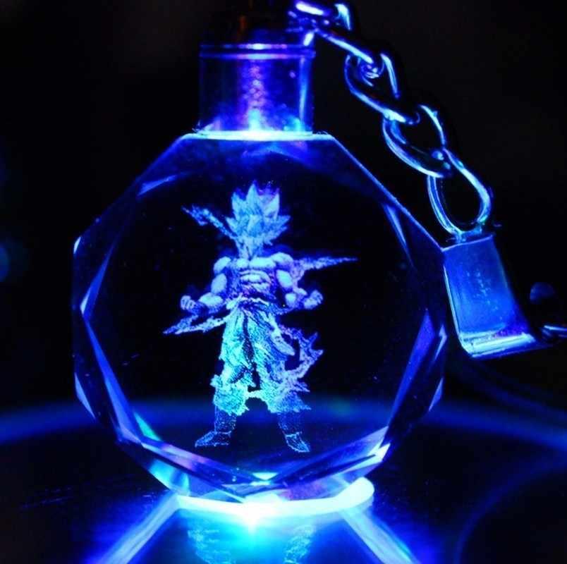 Novo chaveiro de cristal led pingente cor flash dragon ball dragonball z super saiyan goku chaveiro presente natal