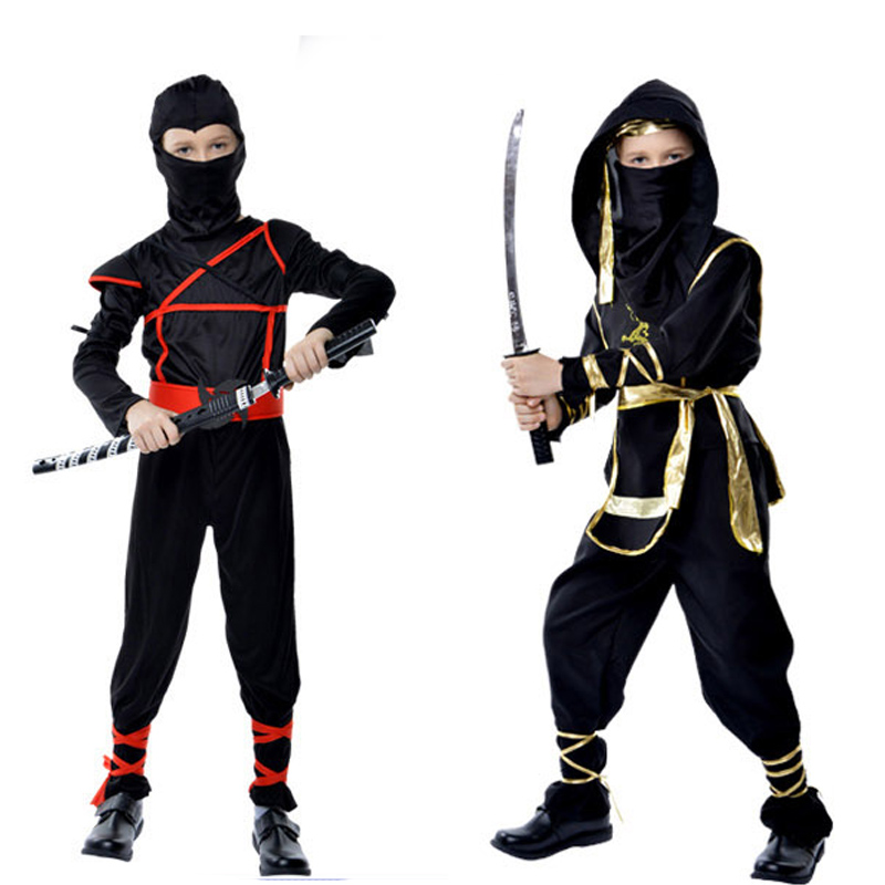 Kids Black Ninja Costumes Halloween Party Boys Girls Warrior Stealth Children Cosplay Assassin Costume Children's Day Gifts