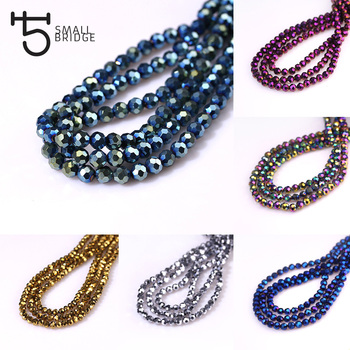 3 4 6 mm Metallic Faceted Glass Glass Beads Round Czech Crystal Beads for Jewelry Making Diy Bracelet Spacer Wholesale Z169