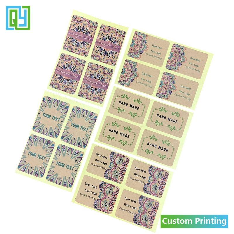 100pcs 35mm Custom Adhesive Kraft Paper Stickers Thank you Hand made Love Wedding Shower Gift Logo Brand Name Seal Label Sticker