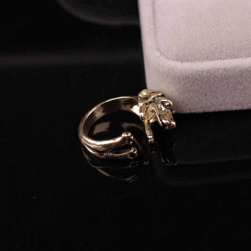3 Color Retro Rings Adjustable Alternate Male And Female Pug Dog Animal Big Ears Popular Ring