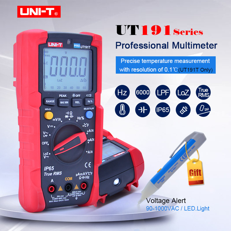 Multímetro Digital UNI T UT191E UT191T voltímetro de CA CC amperímetro ohmetro capacitancia frecuencia de ciclo de servicio diodo/prueba de continuidad