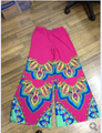 ladies hot pink color  cotton bell bottom boho Aztec Print Palazzo pants women wide leg loose pants for women pantalones MHP048